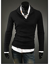 LangTuo Mushroom Button Design Long Sleeve Knitting Shirt(Black)