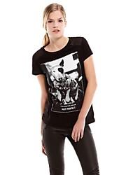 Frauen-Runde Collar Dog Bedruckt Lace Stitching-T-Shirt
