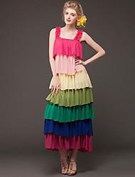 Women's Casual Layer Colorful Strap Maxi Dress