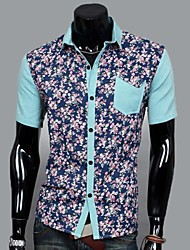 Men's Lapel Joining Together Spend Short Sleeves Shirt