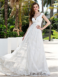 Lanting Bride Sheath/Column Petite / Plus Sizes Wedding Dress-Sweep/Brush Train Off-the-shoulder Chiffon / Lace