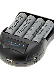 TrustFire 2500mAh 18650 (4 piezas) + TrustFire TR-009 Cargador de batería para 14500/18650/16430 (para 4 baterías)