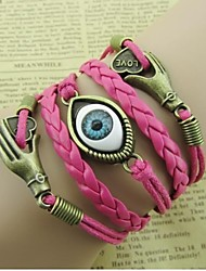 Eye And LOVE Pattern Wax Rope Bracelet(1PC)