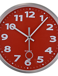 "12"" Silver Metal Frame Glass Dial Red Background Wall Clock"
