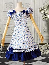 Blaue Blumendruck mit kurzen Ärmeln Baumwolle Lolita Kleid