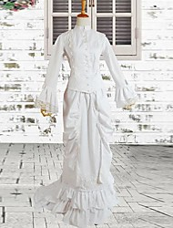 Ivory Long Sleeves Elegant Cotton Bustle Style Classic Victorian Dress