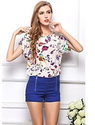 Women's Print Multi-color T-shirt , Round Neck Short Sleeve