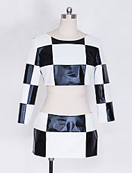 Vocaloid Hatsune Miku Black and White Grid Cosplay Costume