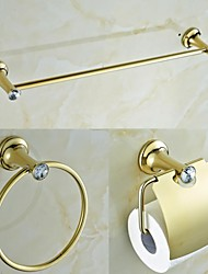 Contemporary Golden Crystal Brass 3 Piece Bathroom Accessories Set  Towel Bar and Towel Ring and Tissue Holder