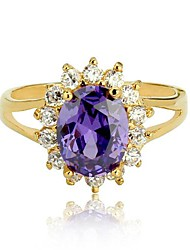 Princess Kate Ring Charm Fashion Oval Party Ring Gold Plated Purple CZ Lady Amethyst Ring