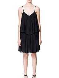 Женская Глубокий V-шейный ремешок украшения Двухместный Уровень Лоскутная платье