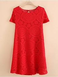 Women's Summer New Loose Short-Sleeved Lace Dress