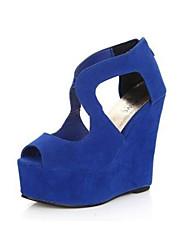 Moka Damen Peep-Toe Keilabsatz Sandalen P03 Blau