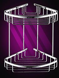 Silver Brass Triangular Double-layer Corner Storage Basket
