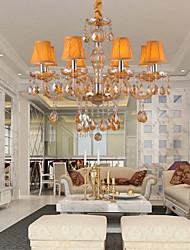 Lustre 8 luzes de velas Recurso âmbar tons de tecido retro elegante cristal
