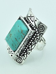 Vintage Female Antique Silver Turquoise Adjustable Ring (Green)(1pcs)