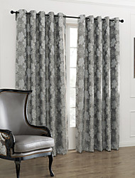 Country Two Panels Floral  Botanical Grey Bedroom Polyester Panel Curtains Drapes