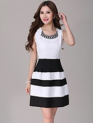 Women's Cute Dress,Striped Above Knee Sleeveless White Others Summer