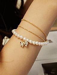 Branco imitação de Pearl Strand Pulseira da Moda Doce Diamanted bowknot Mulheres (1 Pc)