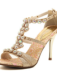 Women's Spring Summer Fall T-Strap Leatherette Dress Party & Evening Stiletto Heel Rhinestone Gold