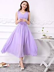 Women's Sleeveless V Neck Tall Waist Chiffon Dress
