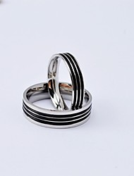 Fashion Black Stripe Titanium Steel Couple Rings