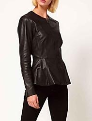 Frauen-PU-Leder mit Folden Hem Coat