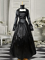 Black Long Sleeves Satin Gothic Victorian Dress