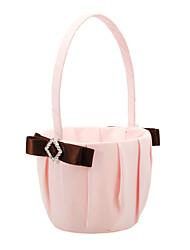 panier de fleurs en satin rose avec des bandes de polyester brun et strass fille fleur panier de mariage de corail
