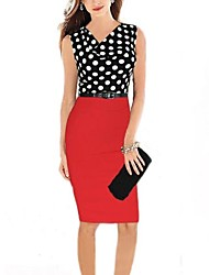 Women's V Neck Polka Dot Print Patchwork Slim Dress