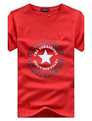 JIAN NAN ® Heren Ronde vijfpuntige ster Print Pure T-shirt