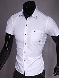 Men's Short Sleeve Shirt , Cotton Blend Casual/Formal Pure