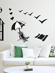 Createforlife ® Preto Beach Life crianças berçário da parede da sala de adesivos de parede decalques de arte