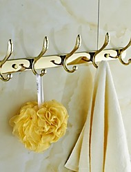 Gold Plating Robe Hooks Clothes 5 Hooks Bathroom Accessories