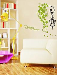 Feuilles vertes et de modèle de lampe d'autocollant de mur (1PCS)