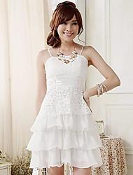 Women's Dress , Lace/Polyester Knee-length Sleeveless