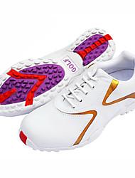 Women's White+Gold Anti-skid Polyurethane Leather Golf Spike Shoes