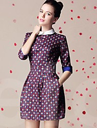 Frauen Digital Print 1/2 Sleeve Dress