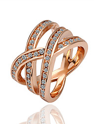 Green Rose Gold Ring Geometry Geometric Ring Casual Rose Gold Plated & Zirconia Gift Women Dress Accessories