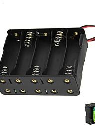 DIY 15V 10-Slot 10 x piles AA Double Deck Back to Back Box Holder Case avec fils