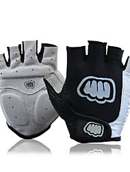 FJQXZ Anti-skid Sliver+Black Lycra Short Finger Cycling Gloves