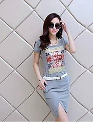 Moda Causal Mini vestido de la impresión Vent Bodycon de la Mujer