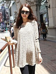 Grey Long Sleeve Lace Korean Maternity Tops Loose Long Pregnant Women Clothing