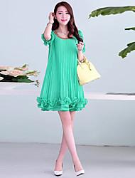 Corea Slim Fit Pure gasa color vestido de las mujeres Hanli plisado (Cinturón aleatoria) (Verde)