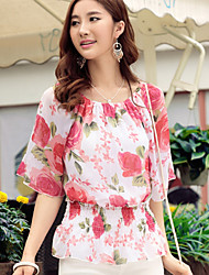 Saiwei Fashion Flower Pattern Chiffon T-shirt Women
