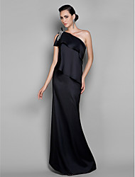 TS Couture Formal Evening / Prom / Military Ball Dress - Black Plus Sizes / Petite Sheath/Column One Shoulder Floor-length Stretch Satin