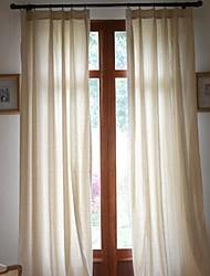 (Dos paneles) Ropa de sólido / algodón clásico cortina ecológico (beige)