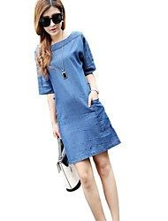 Mujeres Beateau Loose Plus Size Dress Denim