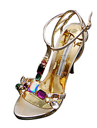 Women's Stiletto Heel T-Strap Sandals With Rhinestone Shoes