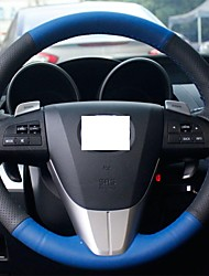 XuJi ™ Black Blue Genuine Leather Steering Wheel Cover for Mazda 3 2011-2013 Mazda 5 Mazda 6 Mazda CX7